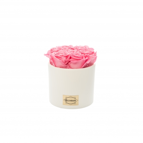 Valge keraamiline pott BABY PINK uinuvate roosidega.jpg