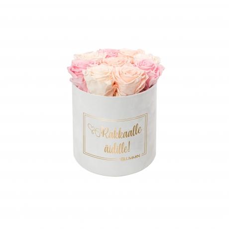 MEDIUM valge sametkarp MIX roosid (peachy pink, ice pink, bridal pink).jpg