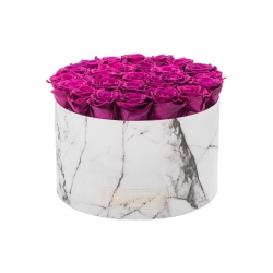 EXTRA LARGE WHITE MARBLE BOX WITH PLUM ROSES