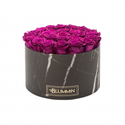 EXTRA LARGE BLACK MARBLE BOX WITH PLUM ROSES