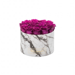 LARGE BLUMMiN WHITE MARBLE BOX WITH PLUM ROSES