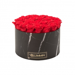 EXTRA LARGE BLUMMIN BLACK MARMOR BOX WITH VIBRANT RED ROSES