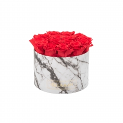 LARGE WHITE MARMOR BOX WITH VIBRANT RED ROSES