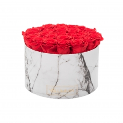 EXTRA LARGE WHITE MARMOR BOX WITH VIBRANT RED ROSES