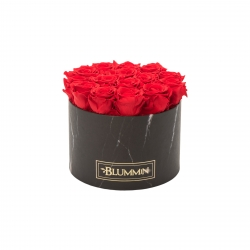 LARGE MARBLE COLLECTION - BLACK BOX WITH VIBRANT RED ROSES