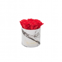 SMALL WHITE MARMOR BOX WITH VIBRANT RED ROSES