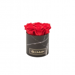 SMALL BLACK MARMOR BOX WITH VIBRANT RED ROSES
