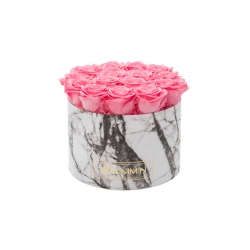 LARGE WHITE MARMOR BOX WITH BABY PINK ROSES