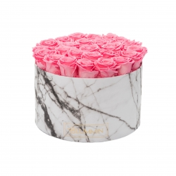 XL MARBLE COLLECTION - WHITE BOX WITH BABY PINK ROSES