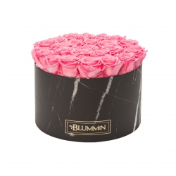 EXTRA LARGE BLACK MARMOR BOX WITH BRIDAL PINK ROSES