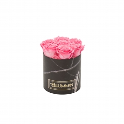 SMALL MARBLE COLLECTION - BLACK BOX WITH BABY PINK ROSES