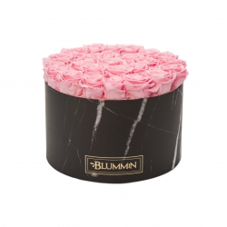 XL MARBLE COLLECTION - BLACK BOX WITH BRIDAL PINK ROSES