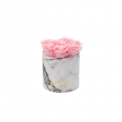 SMALL MARBLE COLLECTION - WHITE BOX WITH BRIDAL PINK ROSES