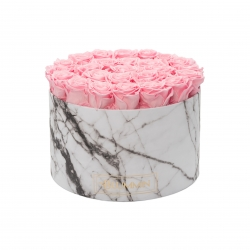 XL MARBLE COLLECTION - WHITE BOX WITH BRIDAL PINK ROSES