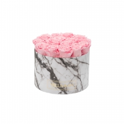 LARGE MARBLE COLLECTION - WHITE BOX WITH BRIDAL PINK ROSES