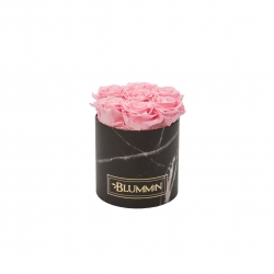 SMALL MARBLE COLLECTION - BLACK BOX WITH BRIDAL PINK ROSES