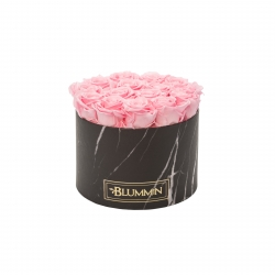 LARGE MARBLE COLLECTION - BLACK BOX WITH BRIDAL PINK ROSES