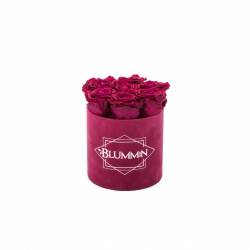 SMALL BLUMMIN FUCHSIA VELVET BOX WITH CHERRY ROSES