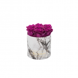 SMALL WHITE MARMOR BOX WITH PLUM ROSES
