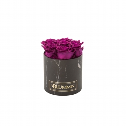 SMALL BLACK MARMOR BOX WITH PLUM ROSES