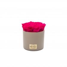 beež keraamiline pott 7 HOT PINK uinuva roosiga