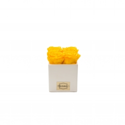 WHITE CERAMIC POT WITH 4 YELLOW ROSES