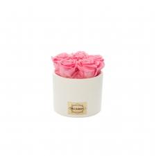 Valge keraamiline pott 5 BABY PINK uinuva roosiga