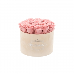 LARGE BLUMMIN NUDE VELVET BOX WITH VINTAGE PINK ROSES