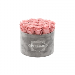 LARGE VELVET LIGHT GREY BOX WITH VINTAGE PINK ROSES