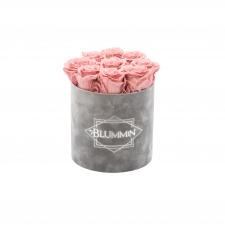 MEDIUM BLUMMIN LIGHT GREY VELVET BOX WITH vintage PINK ROSES