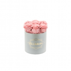 SMALL BLUMMiN - LIGHT GREY BOX WITH VINTAGE PINK ROSES