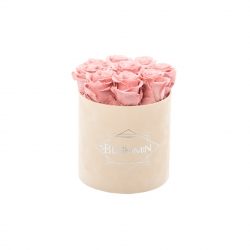 MEDIUM BLUMMIN NUDE VELVET BOX WITH VINTAGE PINK ROSES