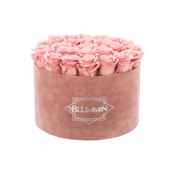 EXTRA LARGE DUSTY PINK VELVET BOX WITH VINTAGE PINK ROSES