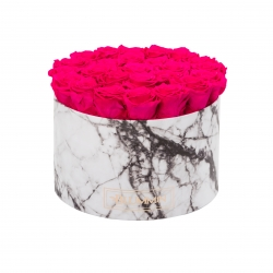 EXTRA LARGE BLUMMIN WHITE MARBLE BOX WITH HOT PINK ROSES