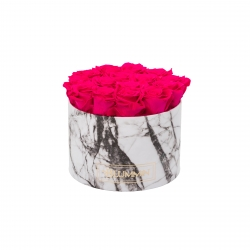 LARGE WHITE MARBLE BOX WITH HOT PINK ROSES