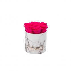 SMALL WHITE MARBLE BOX WITH HOT PINK ROSES