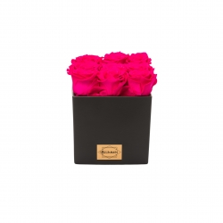 BLACK SQUARE SHAPE CERAMIC POT WITH 9 HOT PINK ROSES