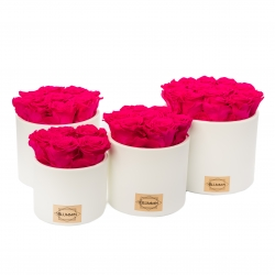 WHITE CERAMIC POT WITH HOT PINK ROSES