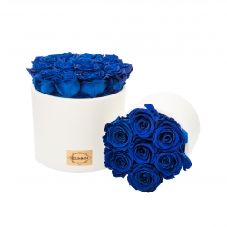 WHITE CERAMIC POT WITH OCEAN BLUE ROSES