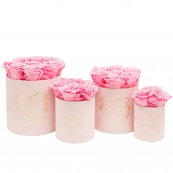 LOVE PINK VELVET BOX WITH BABY PINK ROSES
