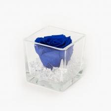 Klaasist vaas 8x8 cm OCEAN BLUE roosiga ja kristallidega S
