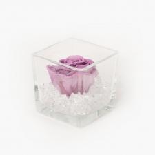 Klaasist vaas 8x8 cm LILAC roosiga ja kristallidega S