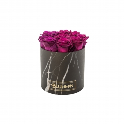 MEDIUM BLUMMIN BLACK MARBLE BOX WITH PLUM ROSES