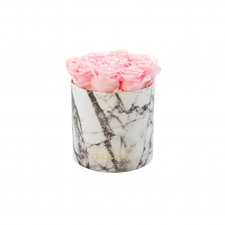 MEDIUM BLUMMIN WHITE MARBLE BOX WITH BRIDAL PINK ROSES