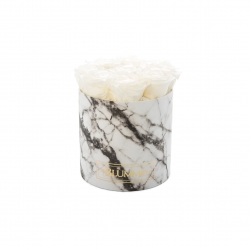 MEDIUM BLUMMIN WHITE MARMOR BOX WITH WHITE ROSES