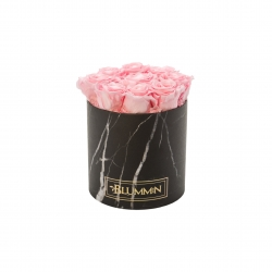 MEDIUM MARBLE COLLECTION - BLACK BOX WITH BRIDAL PINK ROSES