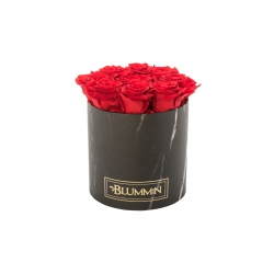 MEDIUM BLUMMIN BLACK MARBLE BOX WITH RED ROSES