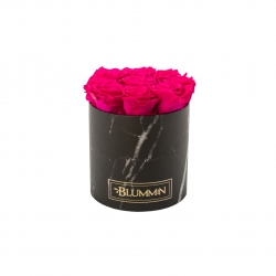 MEDIUM MARBLE COLLECTION - BLACK BOX WITH HOT PINK ROSES