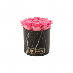 MEDIUM MARBLE COLLECTION - BLACK BOX WITH BABY PINK ROSES