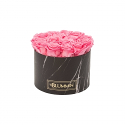 LARGE BLACK MARMOR BOX WITH BRIDAL PINK ROSES